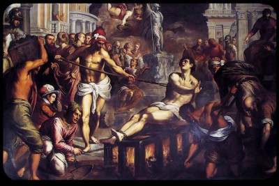 A fanciful depiction of the martyrdom of St. Lawrence.