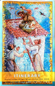 St. Francis destroying a house the people of Assisi built for the Friars. (Cover of the Itinerary booklet.)