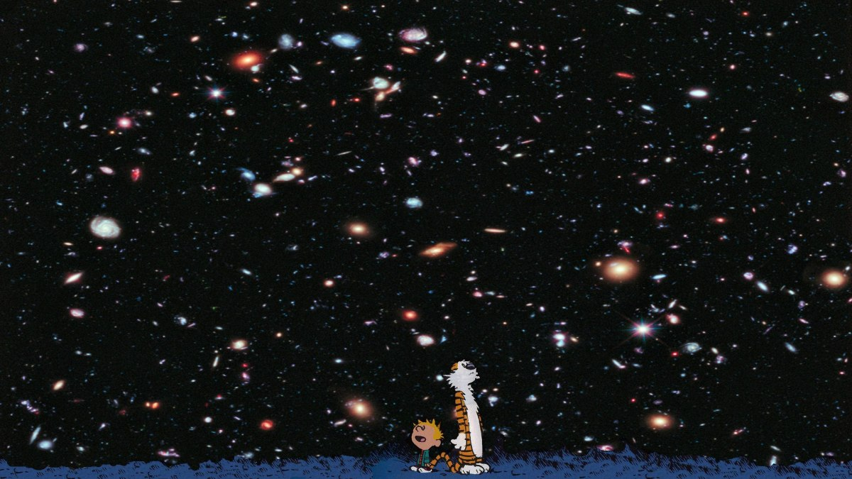 This image is of the Hubble Ultra Deep Field, updated in 2014 to encompass the full range of wavelengths that Hubble's cameras can image, from the ultraviolet to the infrared. A few of the objects here, the ones with diffraction spikes, are foreground stars. Every other object is a galaxy. Some of these emitted the light we now see when the Universe was 400 million to 600 million years old, about 3-4% of its present age. That's as far back in time and as deep in space as we can go.